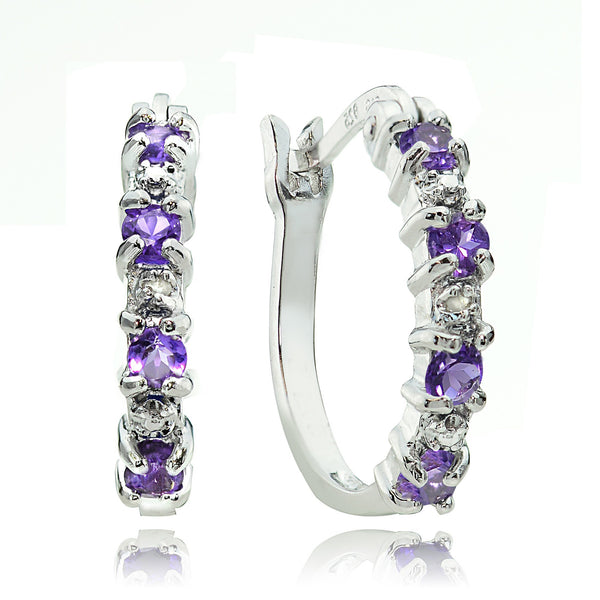 Amethyst Diamond Accented Sterling Silver Hoop Earrings