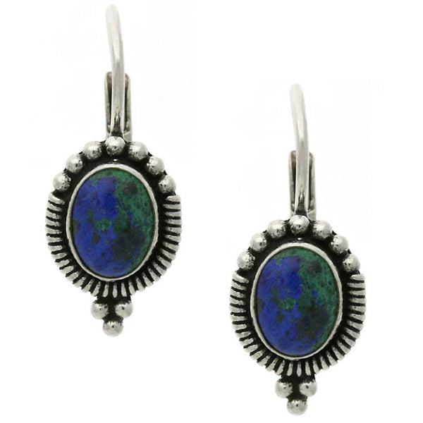 Azurite Oval Cut Gemstone Sterling Silver Leverback Earrings