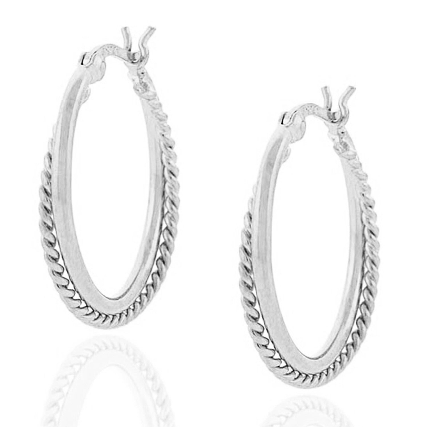 Sterling Silver Braided Clip Back Hoop Earrings - Silver