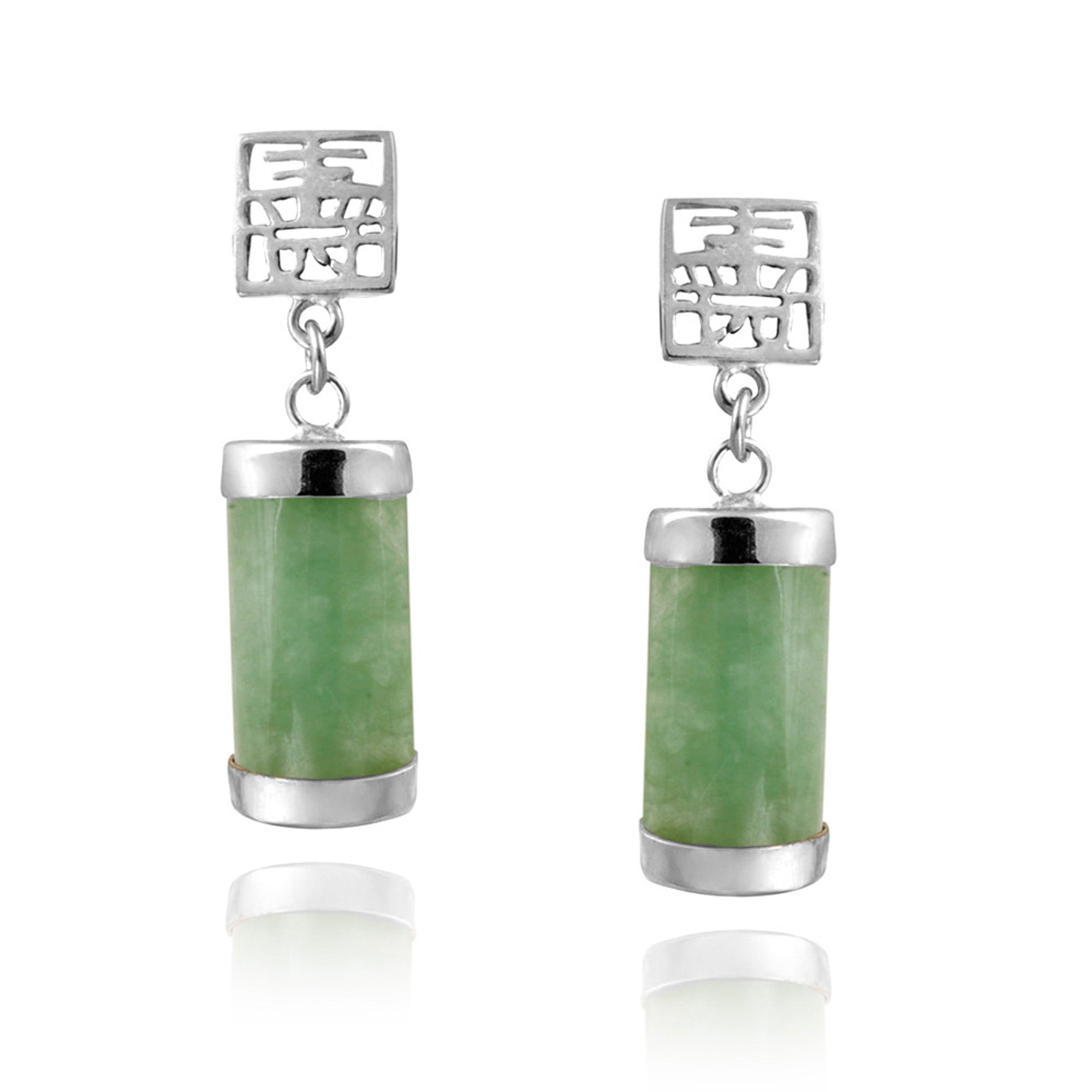 Polished Sterling Silver Butterfly Clasp Green Jade Dangle Earrings