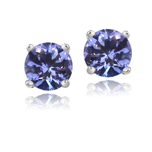 Blue Cubic Zirconia Sterling Silver Butterfly Clasp Stud Earrings - 6mm