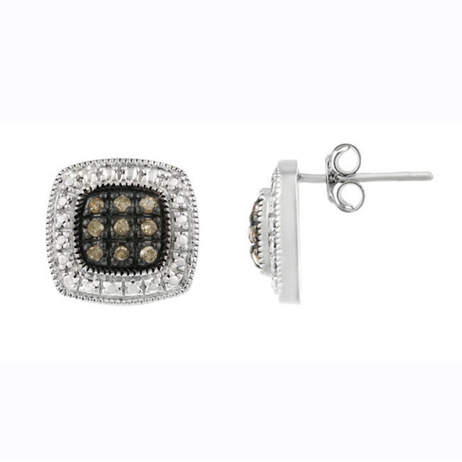 Brown Diamond Accented Sterling Silver Square Stud Earrings