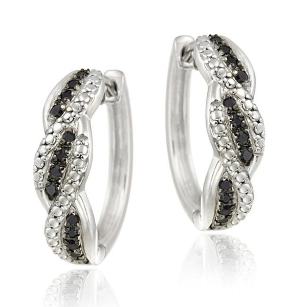 Black Diamond Accent Sterling Silver Saddleback Hoop Earrings