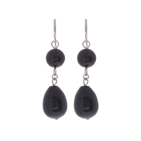 Black Onyx Stone Sterling Silver Dangle Earrings