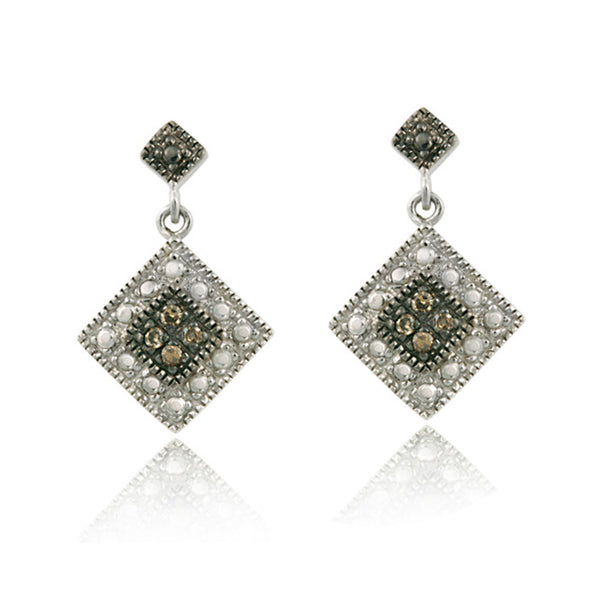 Brown Diamond Accented Sterling Silver Earrings