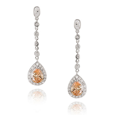 Champagne Cubic Zirconia Accent Sterling Silver Teardrop Dangle Earrings