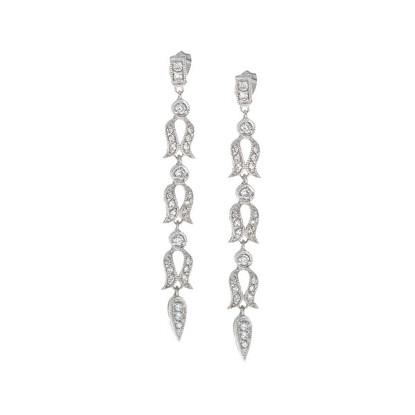 Cubic Zirconia Accent Sterling Silver Butterfly Clasp Dangle Earrings