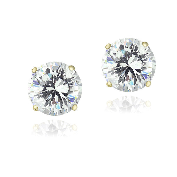 Cubic Zirconia Accent Sterling Silver Butterfly Clasp Stud Earrings - Yellow Gold