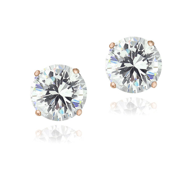 Cubic Zirconia Accent Sterling Silver Butterfly Clasp Stud Earrings - Rose Gold
