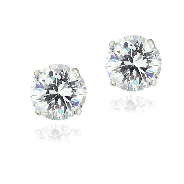 Cubic Zirconia Accent Sterling Silver Butterfly Clasp Stud Earrings - Silver