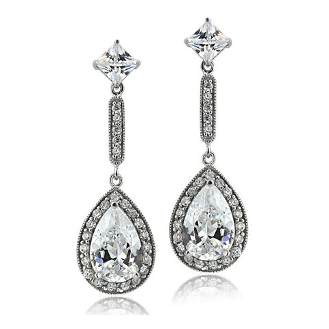 Cubic Zirconia Accent Sterling Silver Butterfly Clasp Teardrop Dangle Earrings