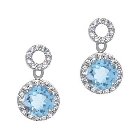 Cubic Zirconia Accented Sterling Silver Circle Dangle Earrings - Blue Topaz