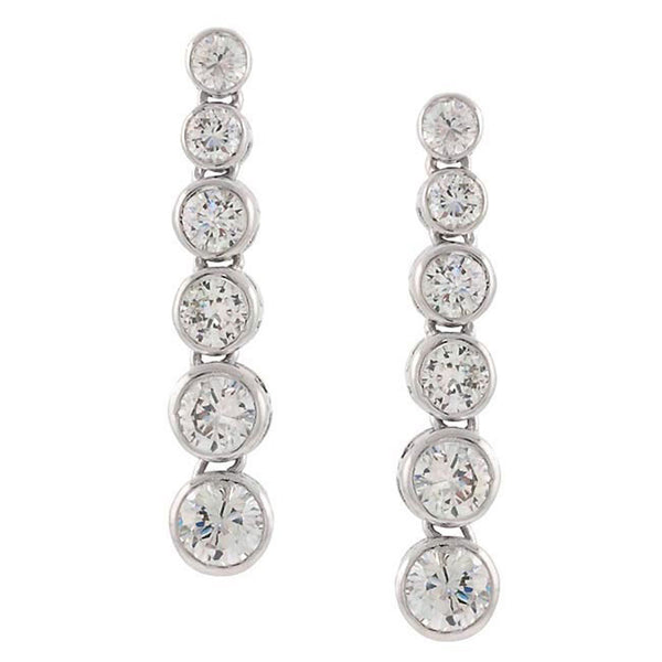Cubic Zirconia Accent Sterling Silver Journey of Life Dangle Earrings