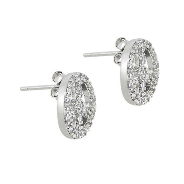 Sterling Silver Cubic Zirconia Accented Peace Symbol Butterfly Clasp Stud Earrings