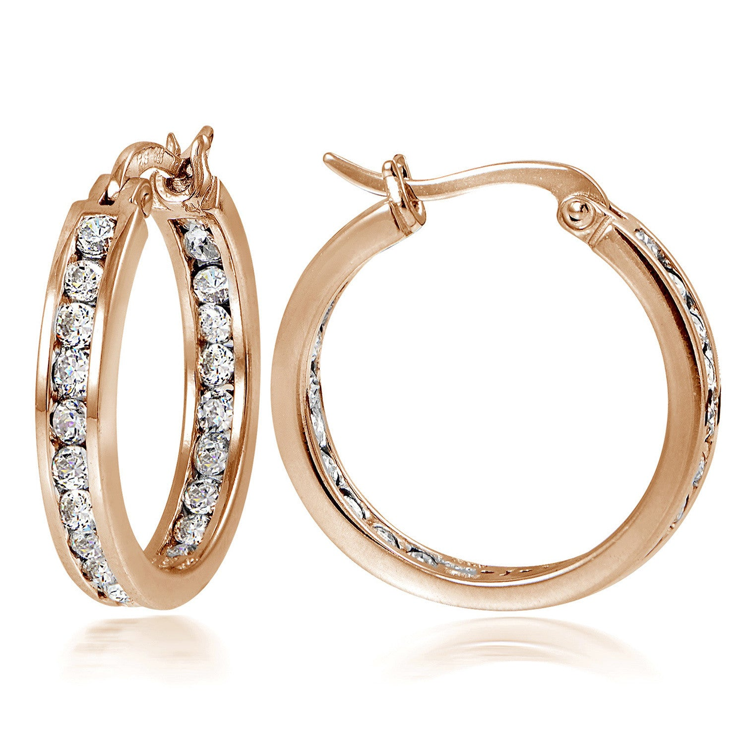 Sterling Silver Cubic Zirconia Accented Saddleback Hoop Earrings - Rose Gold