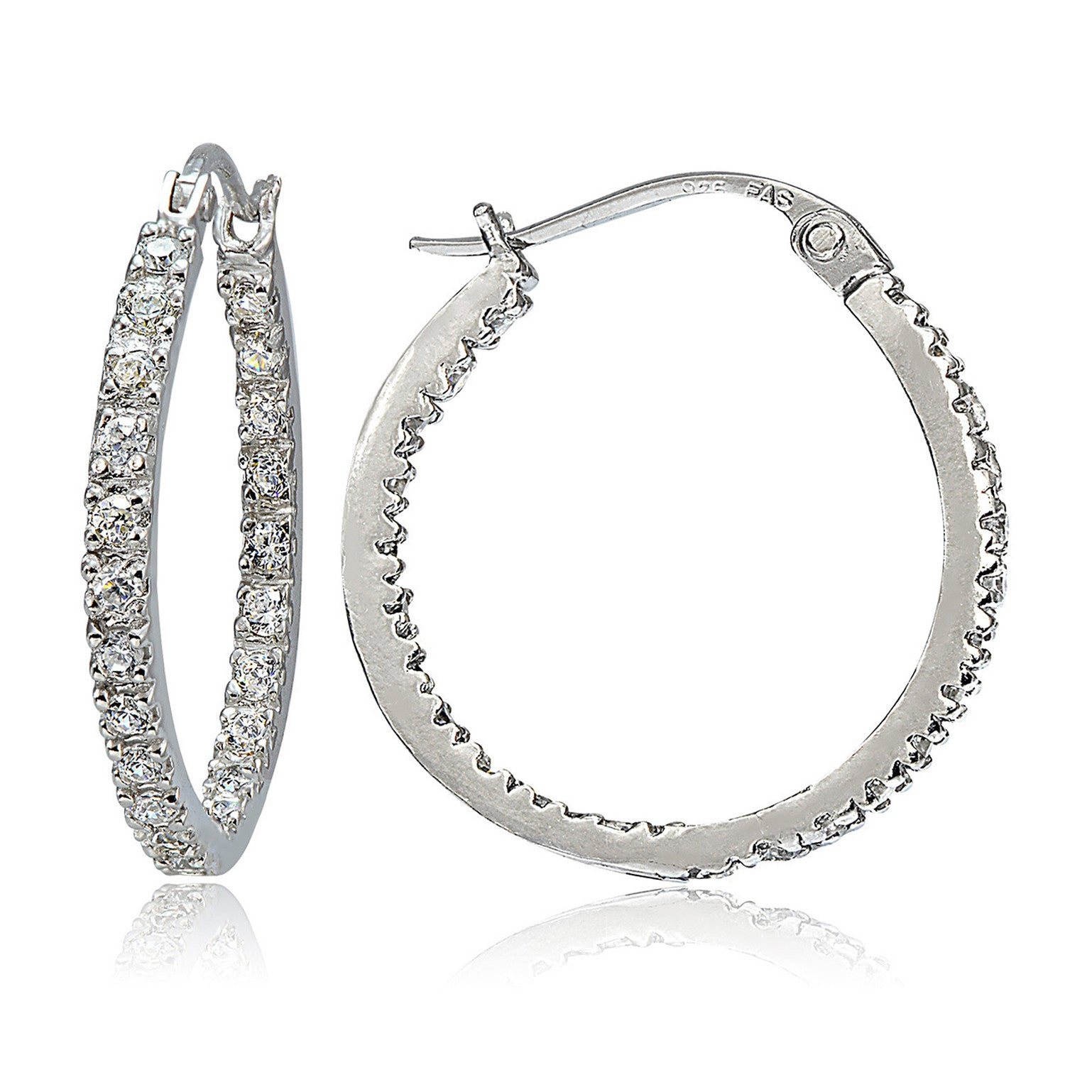 Cubic Zirconia Accented Sterling Silver Saddleback Hoop Earrings