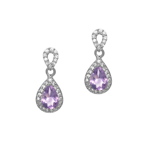 Cubic Zirconia Accented Sterling Silver Teardrop Dangle Earrings - Amethyst
