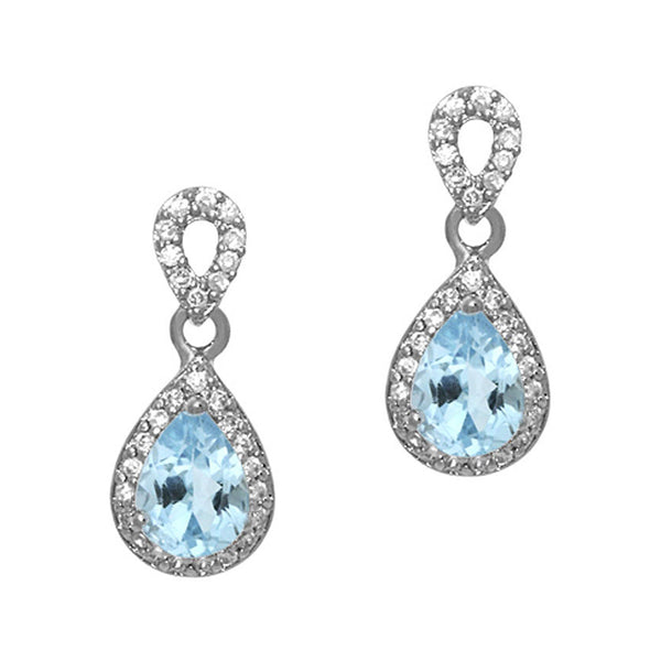 Cubic Zirconia Accented Sterling Silver Teardrop Dangle Earrings - Blue Topaz