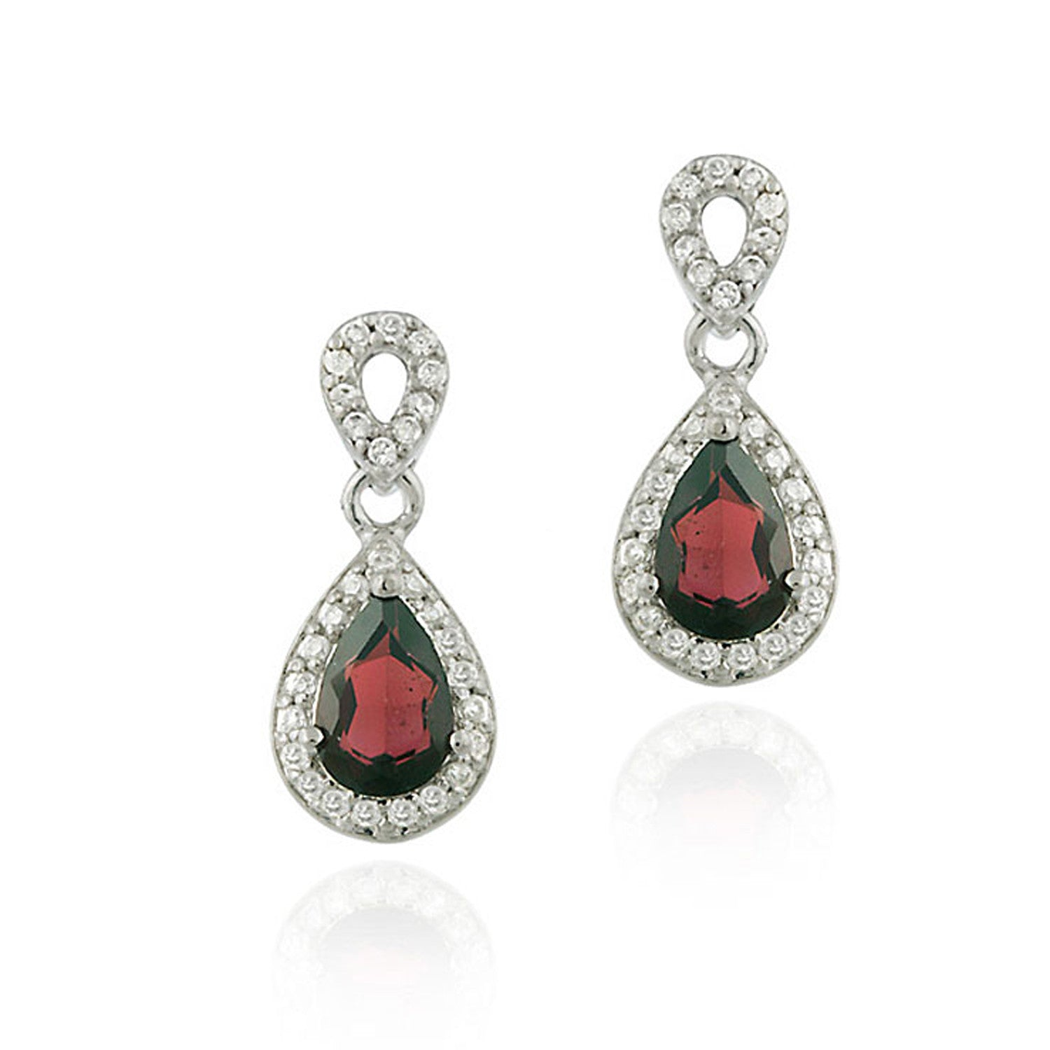 Cubic Zirconia Accented Sterling Silver Teardrop Dangle Earrings - Gold / Garnet