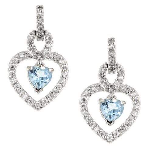 Cubic Zirconia & Blue Topaz Accent Sterling Silver Heart Dangle Earrings