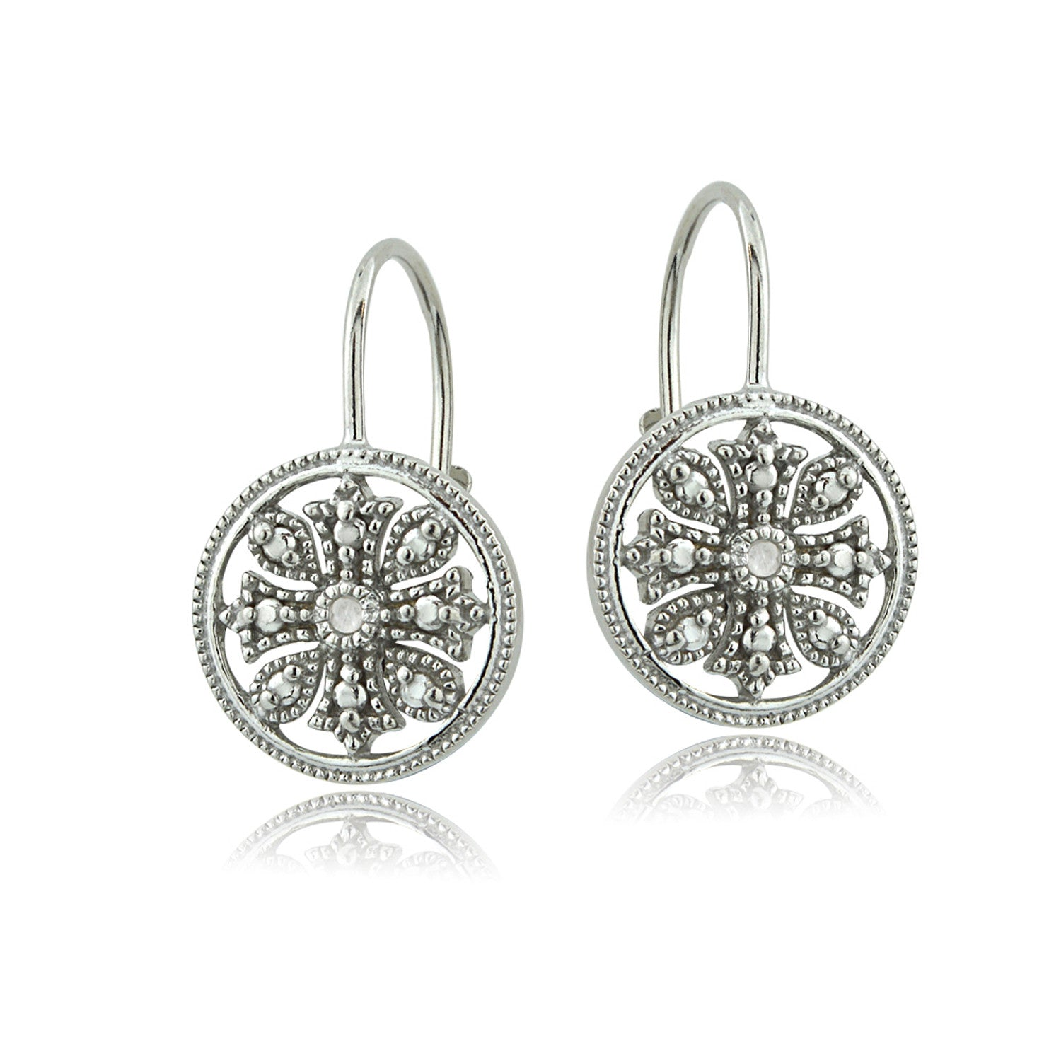 Diamond Accent Sterling Silver Filigree Leverback Earrings