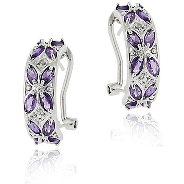 Diamond Accent Sterling Silver Half Hoop Earrings - Amethyst