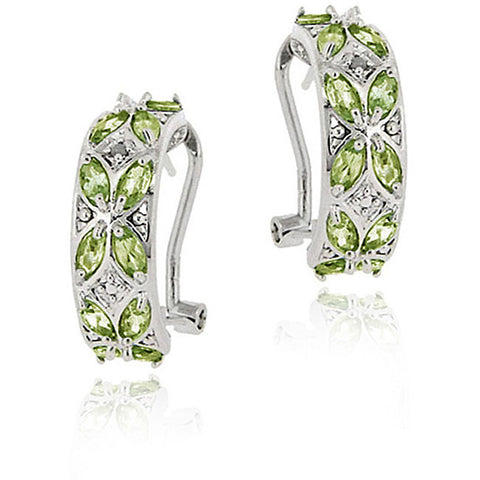 Diamond Accent Sterling Silver Half Hoop Earrings - Peridot