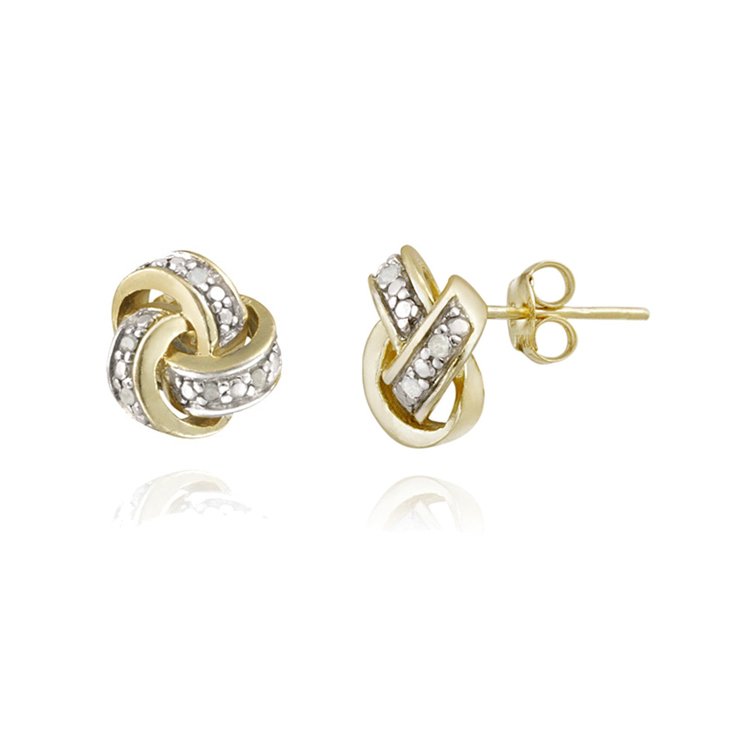 Diamond Accent Sterling Silver Love Knot Stud Earrings - Yellow Gold