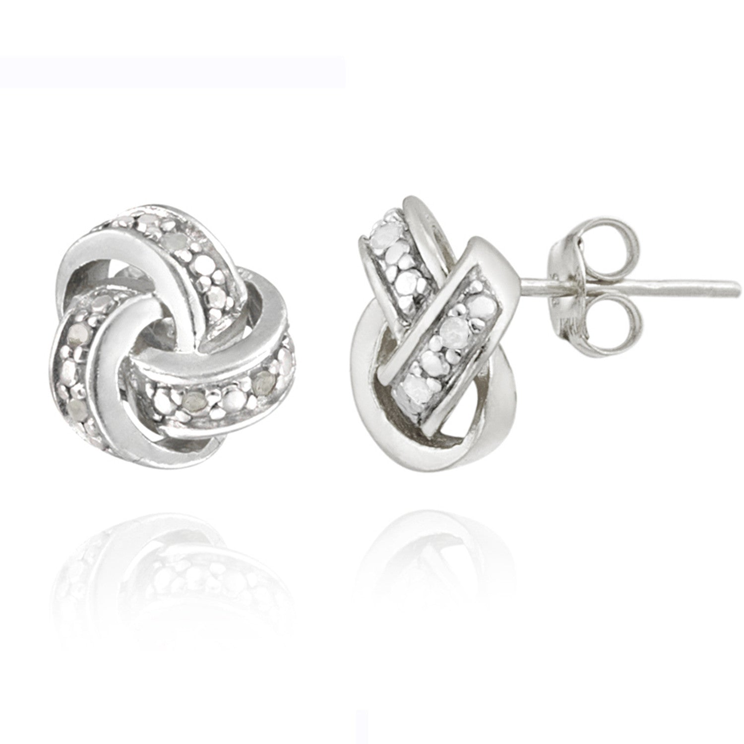 Diamond Accent Sterling Silver Love Knot Stud Earrings - Silver