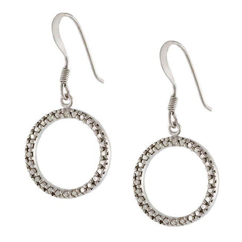 Diamond Accent Sterling Silver Open Circle Earrings