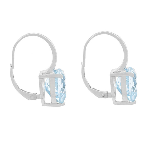 Diamond & Blue Topaz Accent Sterling Silver Leverback Heart Earrings