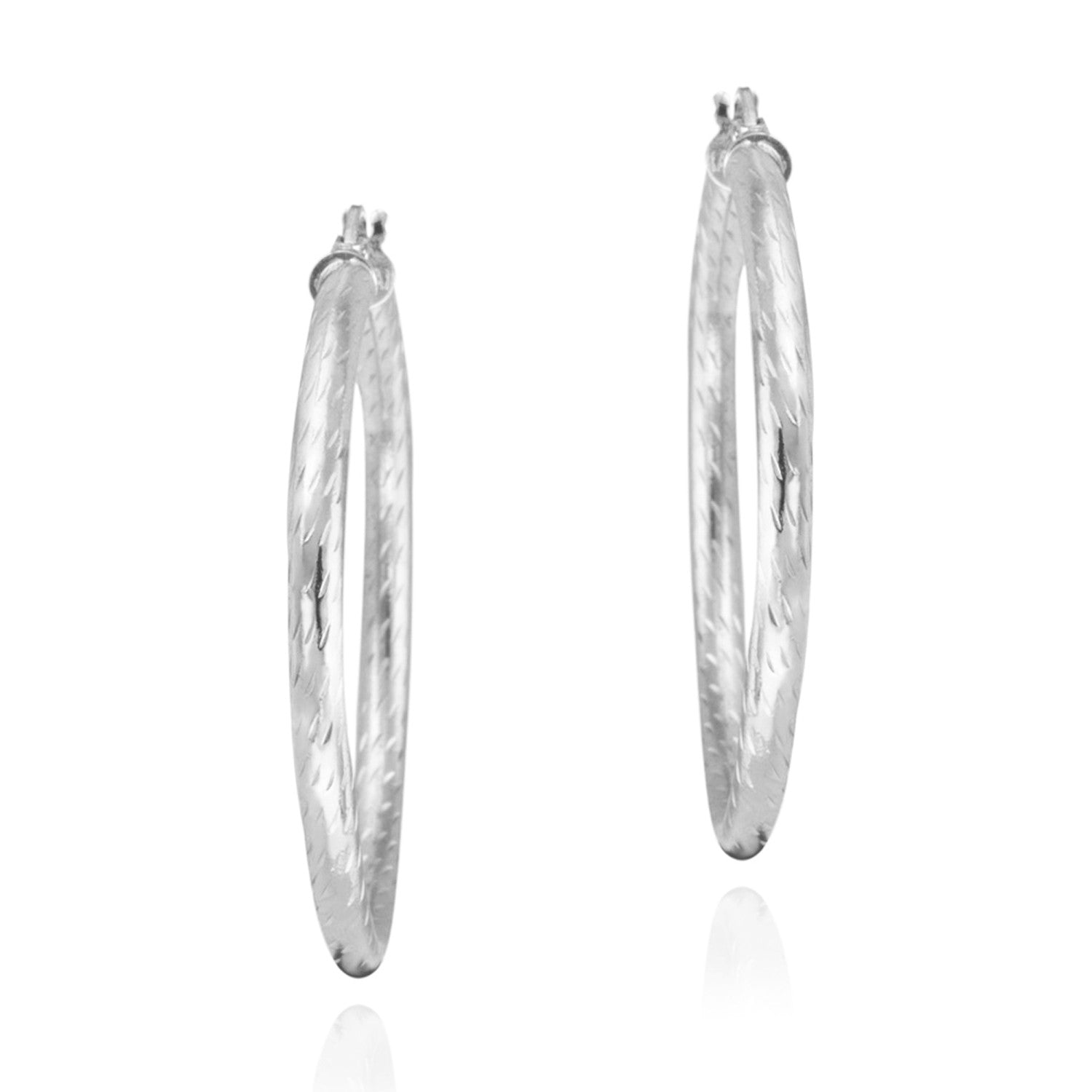 Diamond Cut Sterling Silver 35mm Saddleback Hoop Earrings - Silver