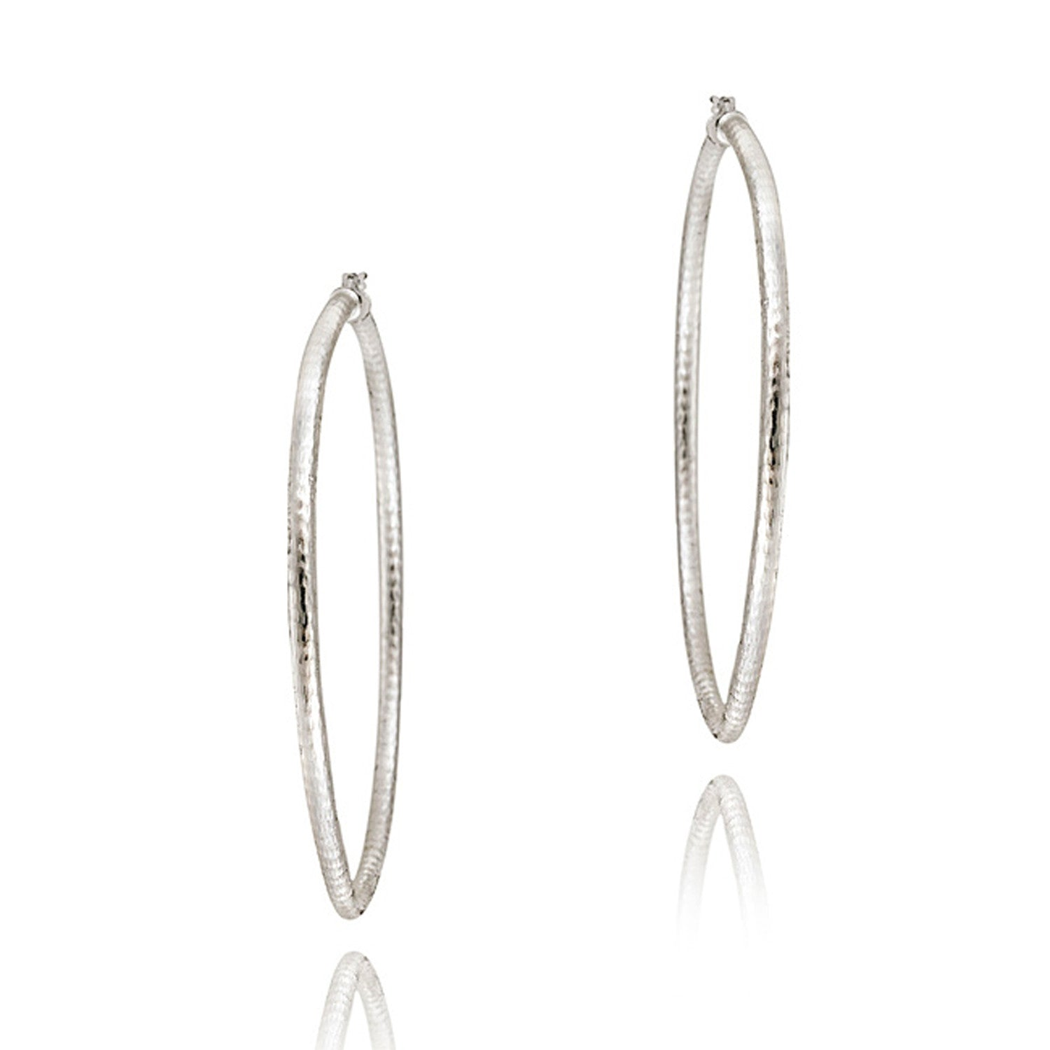 Diamond Cut Sterling Silver 60mm Saddleback Hoop Earrings - Silver