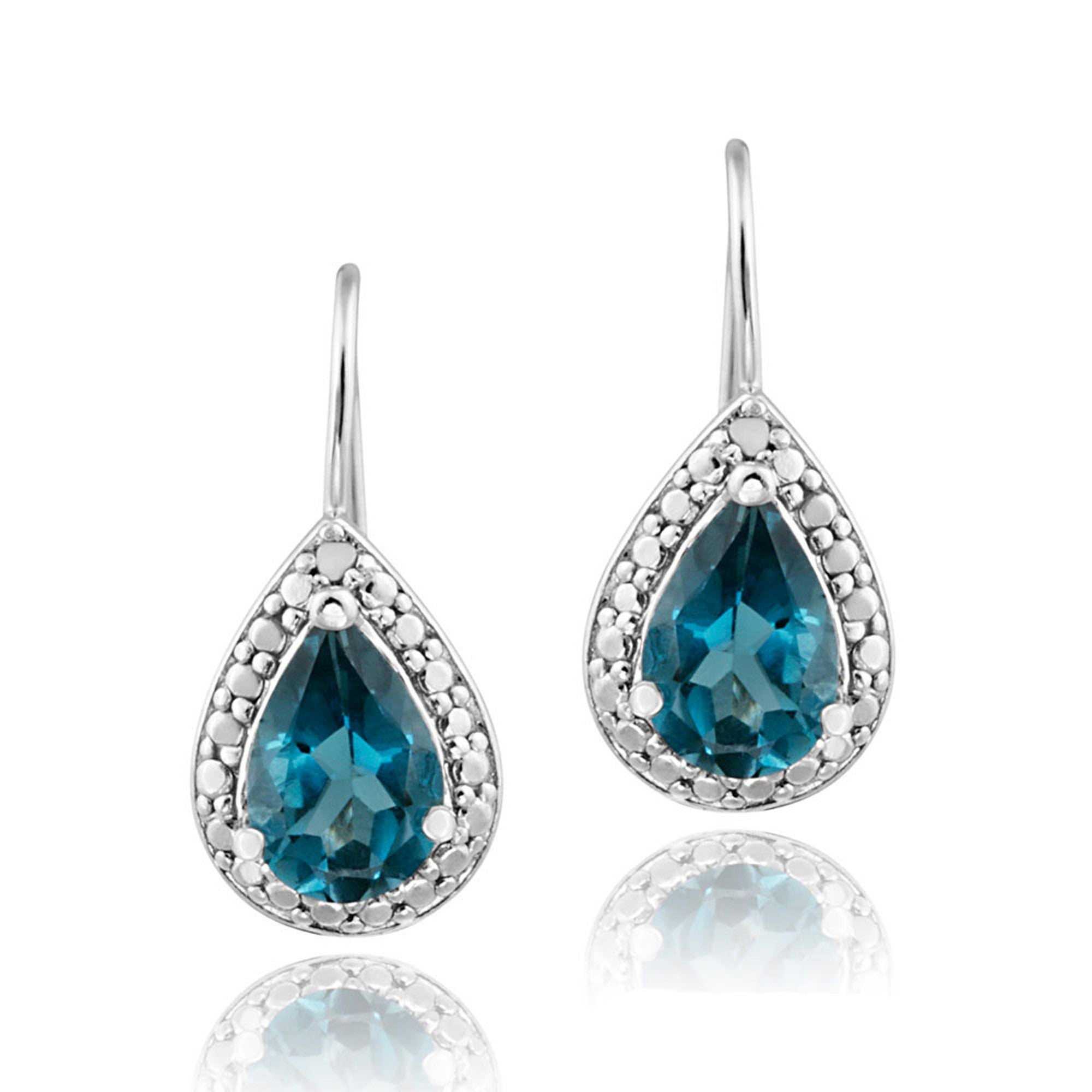 Sterling Silver Diamond & Gemstone Accent Dangle Earrings - Blue Topaz