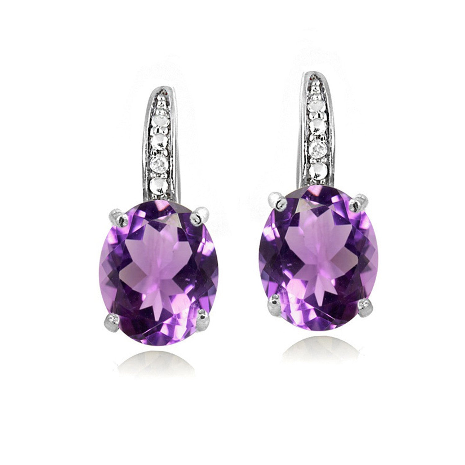 Sterling Silver Diamond & Gemstone Accent Leverback Earrings - Amethyst