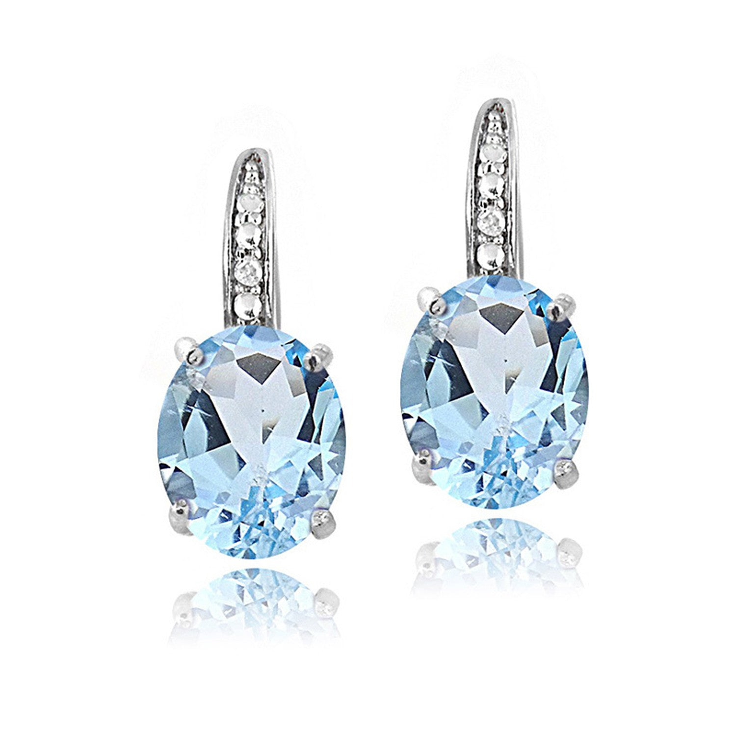 Sterling Silver Diamond & Gemstone Accent Leverback Earrings - Blue Topaz