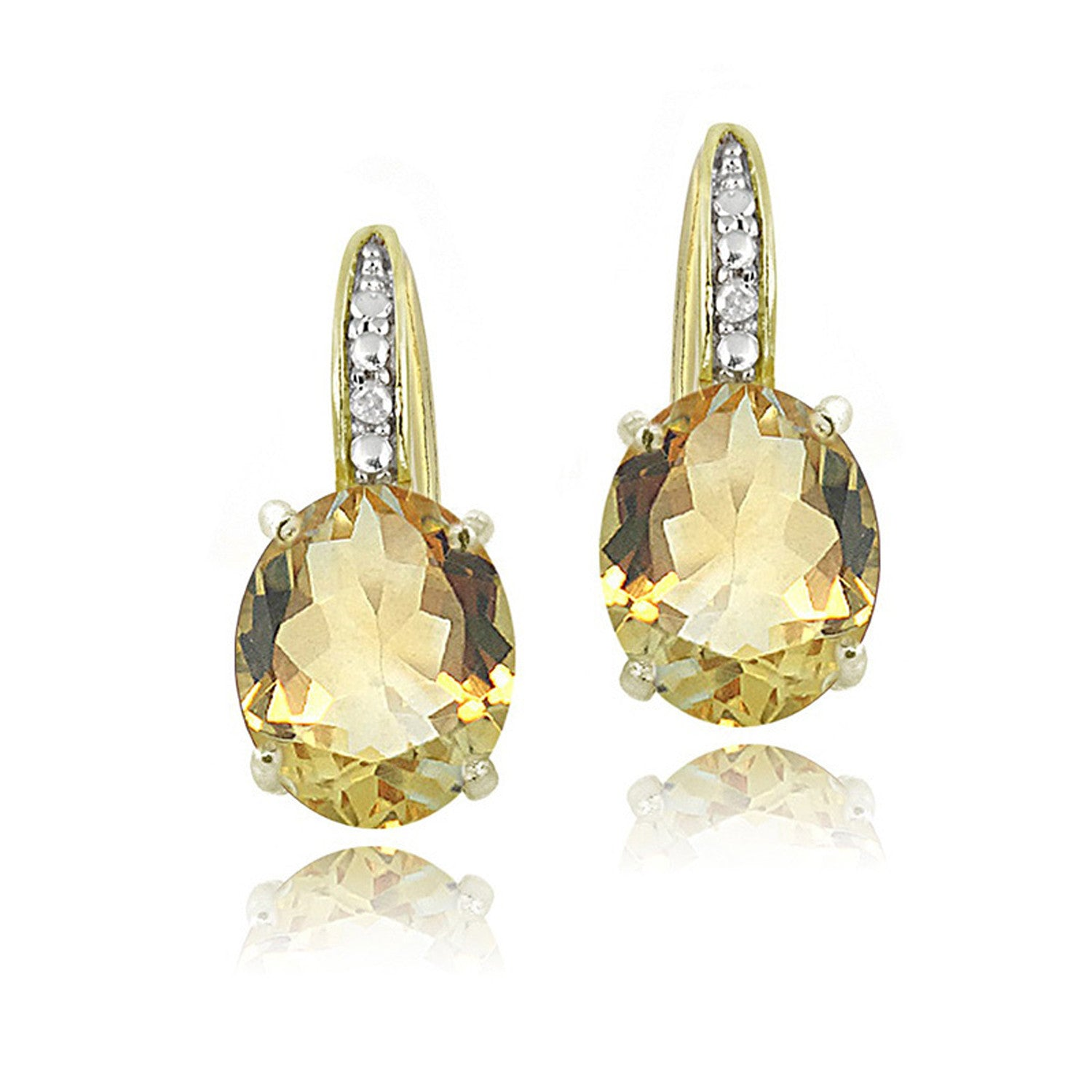 Sterling Silver Diamond & Gemstone Accent Leverback Earrings - Citrine