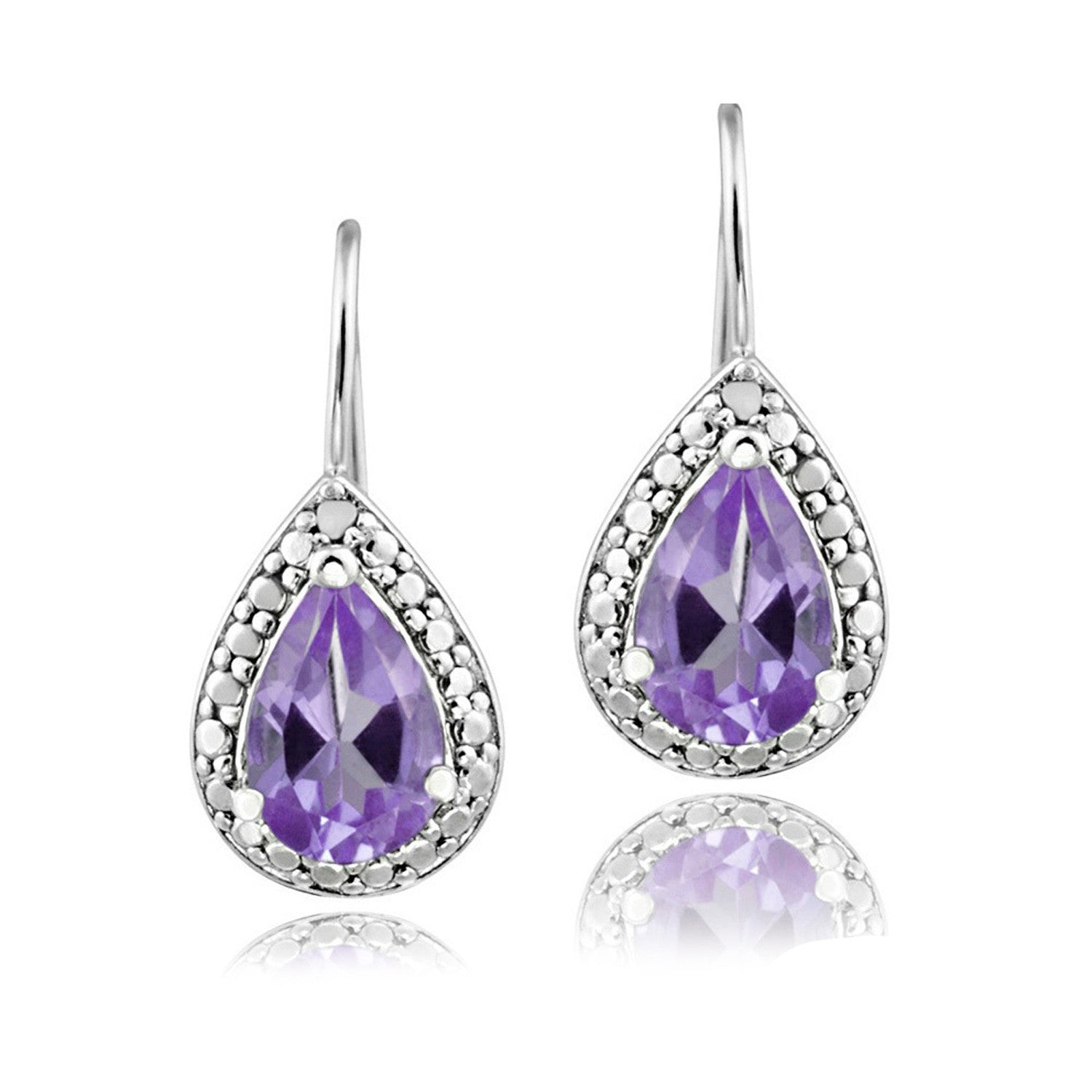 Sterling Silver Diamond & Gemstone Accent Leverback Dangle Earrings - Amethyst