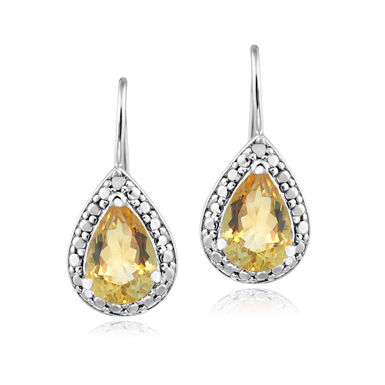 Sterling Silver Diamond & Gemstone Accent Leverback Dangle Earrings - Citrine