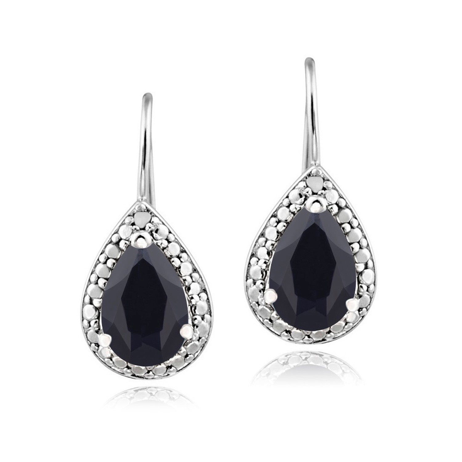 Sterling Silver Diamond & Gemstone Accent Leverback Dangle Earrings - Sapphire