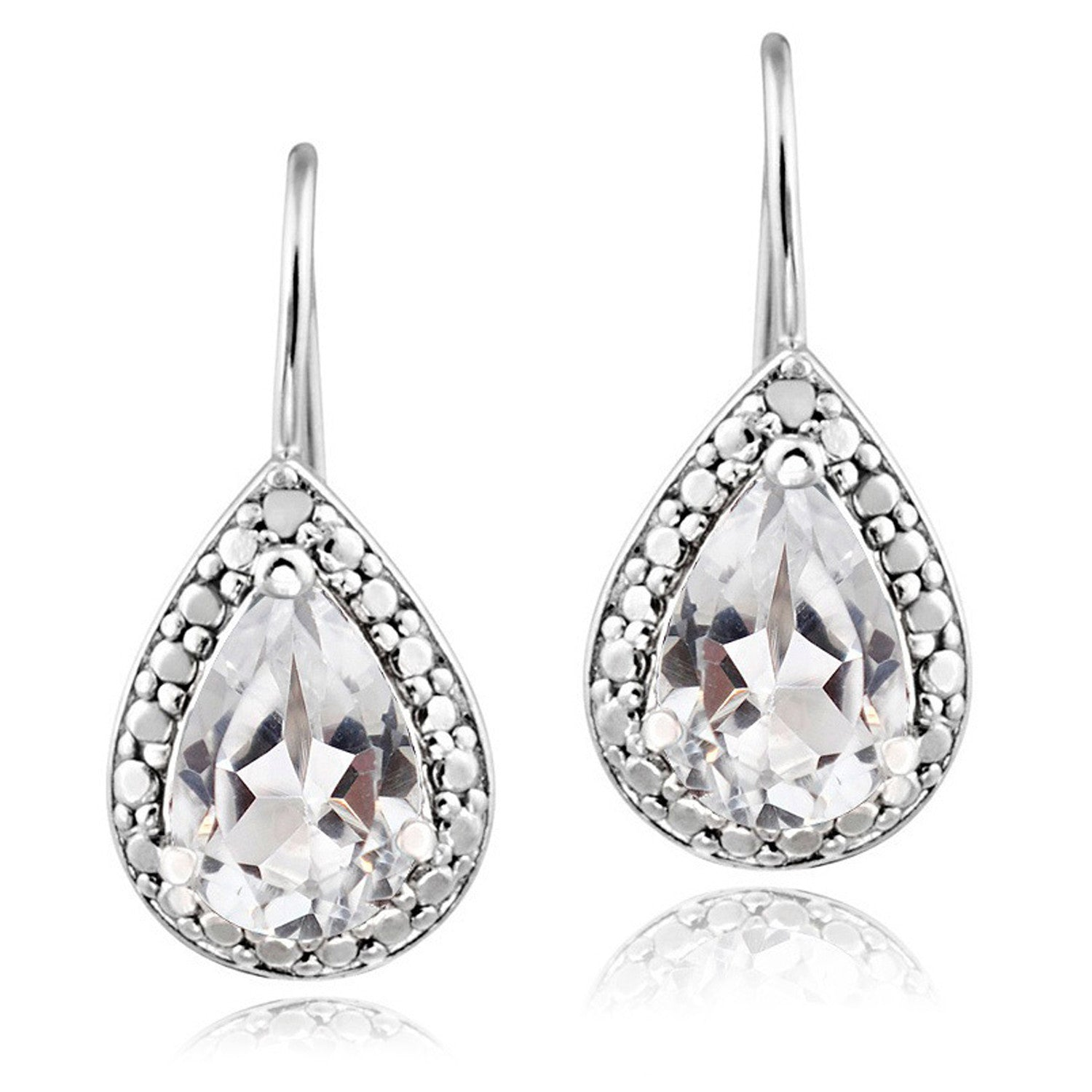 Sterling Silver Diamond & Gemstone Accent Leverback Dangle Earrings - White Topaz