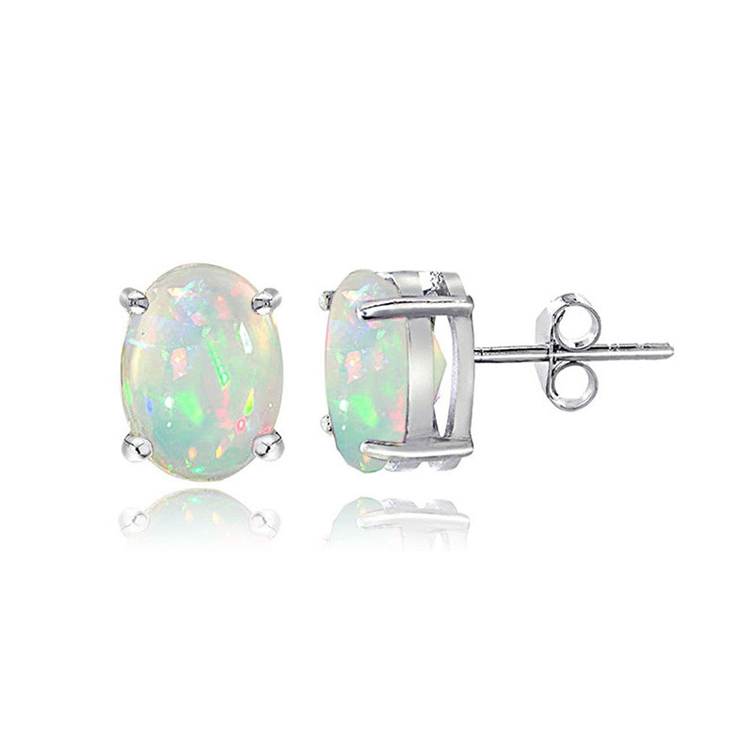 Sterling Silver Ethiopian Opal Gemstone Oval Butterfly Clasp Earrings