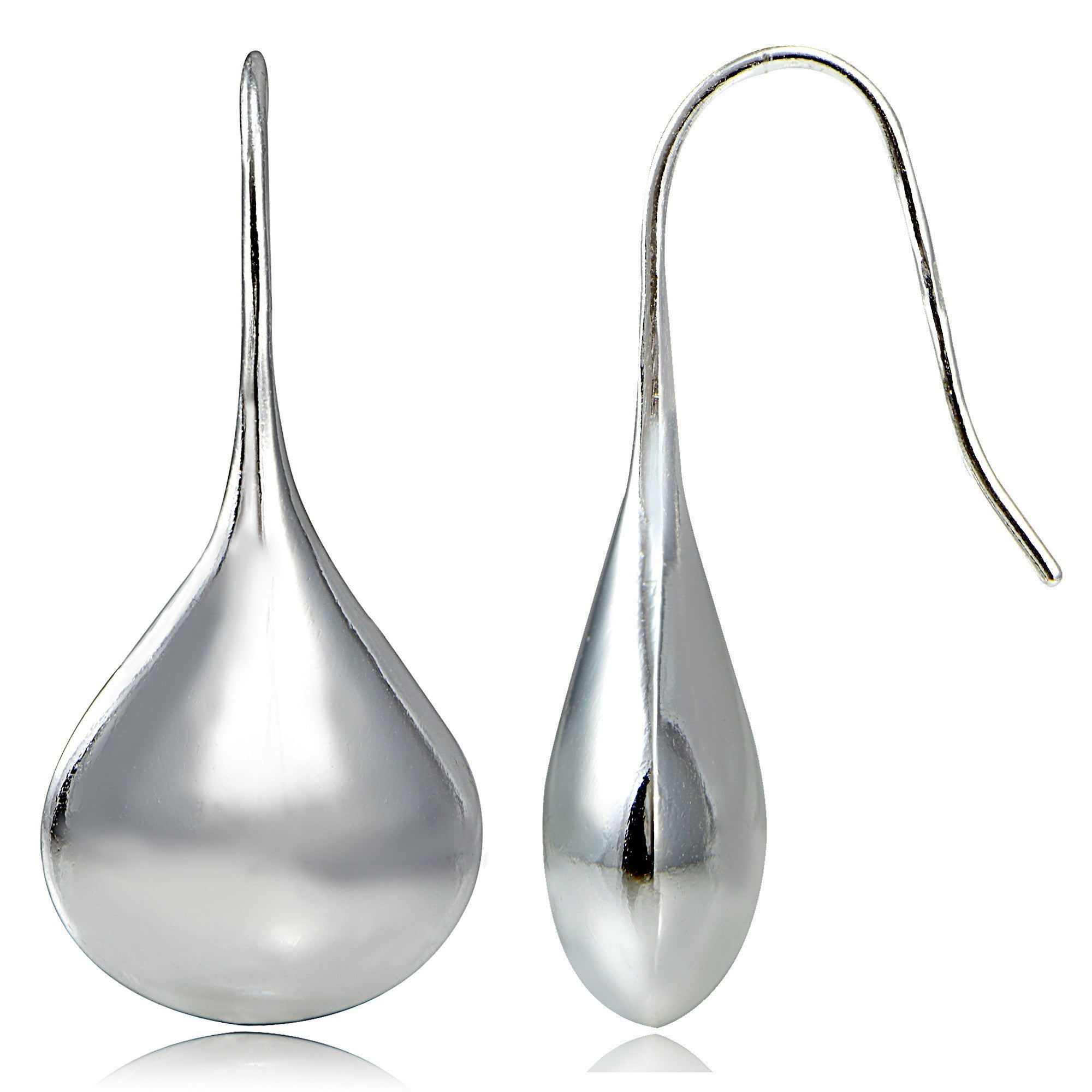 Sterling Silver Euro Wire Puffed Teardrop Earrings - Silver