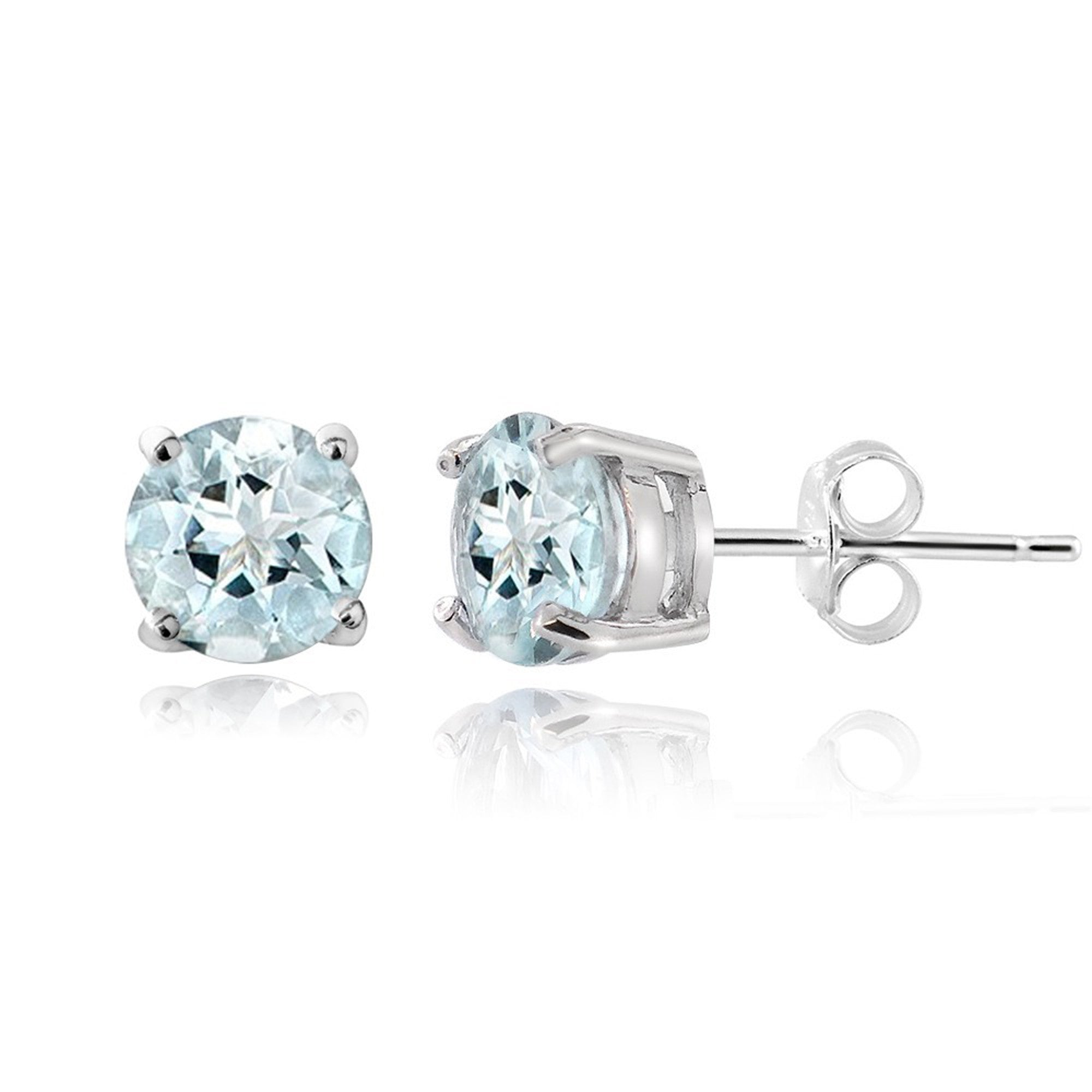 Sterling Silver Gemstone Accent Butterfly Clasp Stud Earrings - Aquamarine