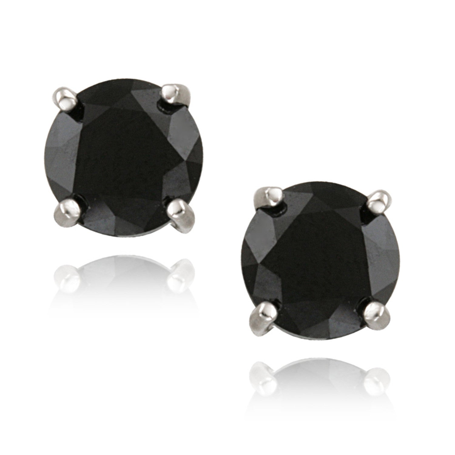 Sterling Silver Gemstone Accent Butterfly Clasp Stud Earrings - Black Spinel
