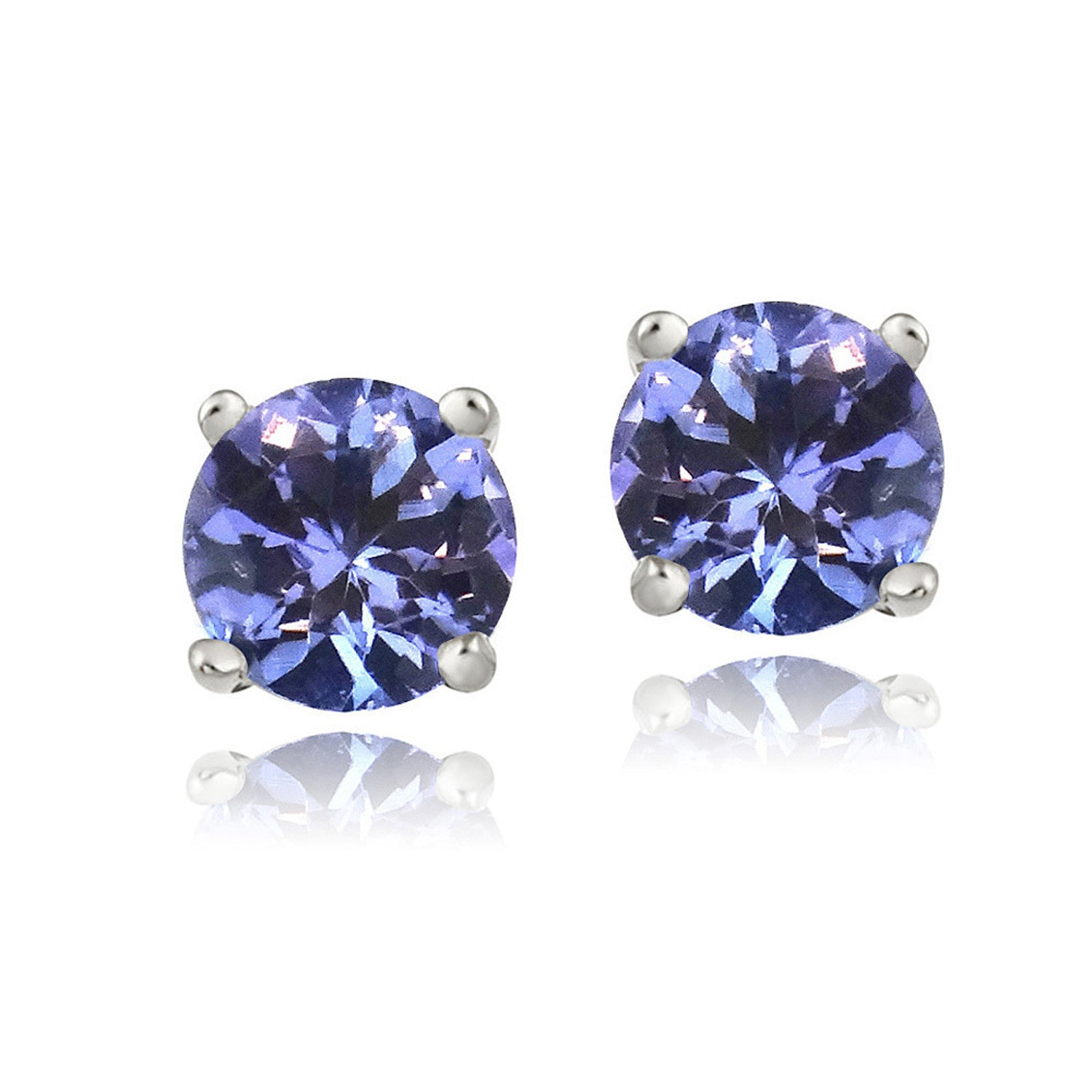Sterling Silver Gemstone Accent Butterfly Clasp Stud Earrings - Tanzanite