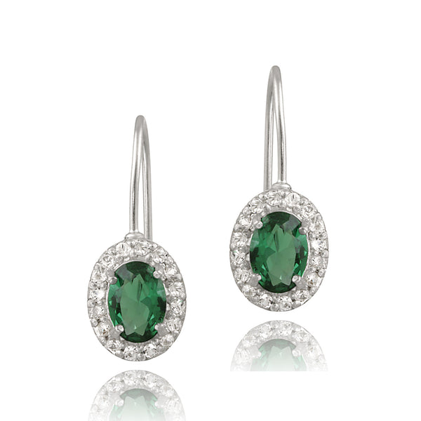 Gemstone Accent Sterling Silver Leverback Dangle Earrings - Silver / Emerald
