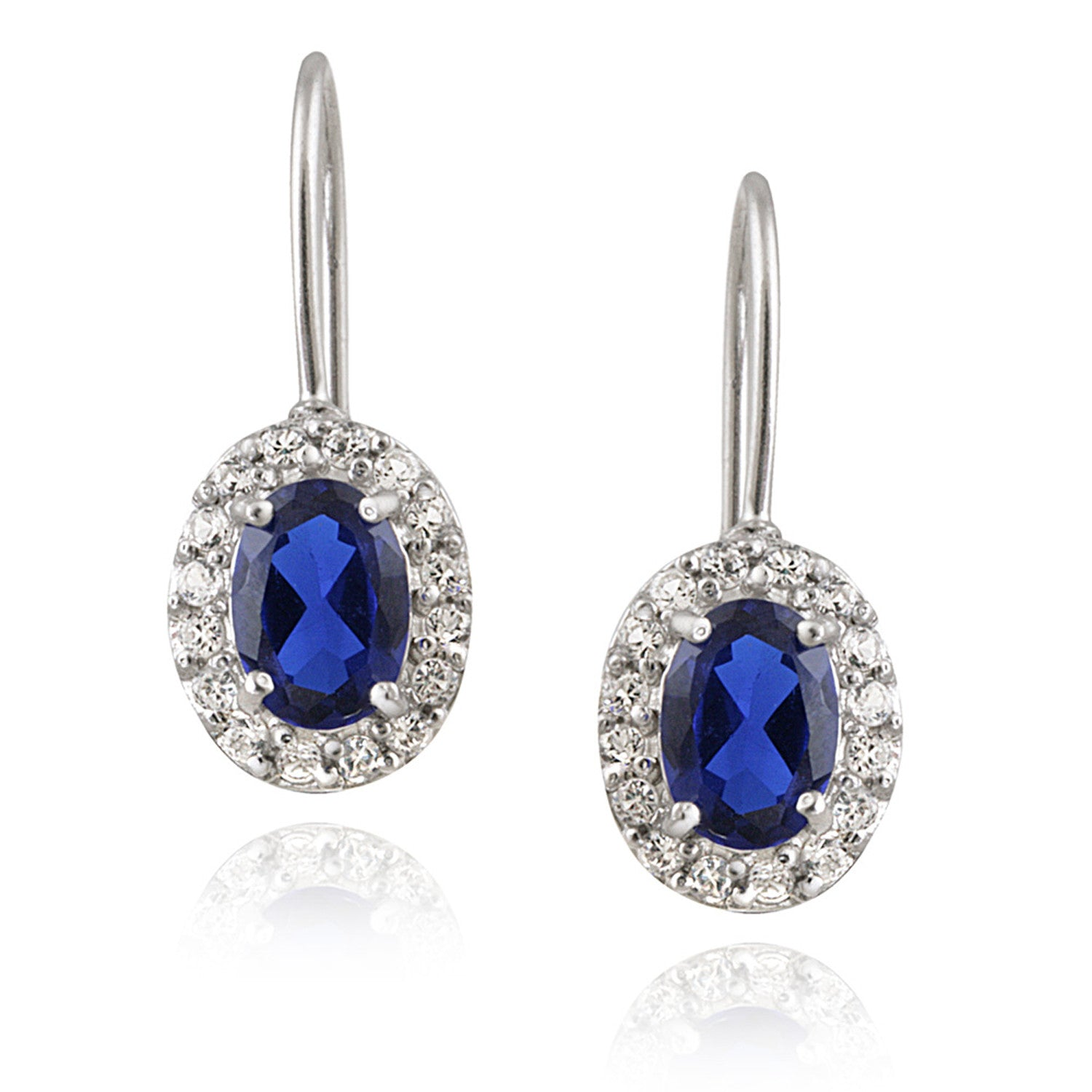 Gemstone Accent Sterling Silver Leverback Dangle Earrings - Silver / Sapphire