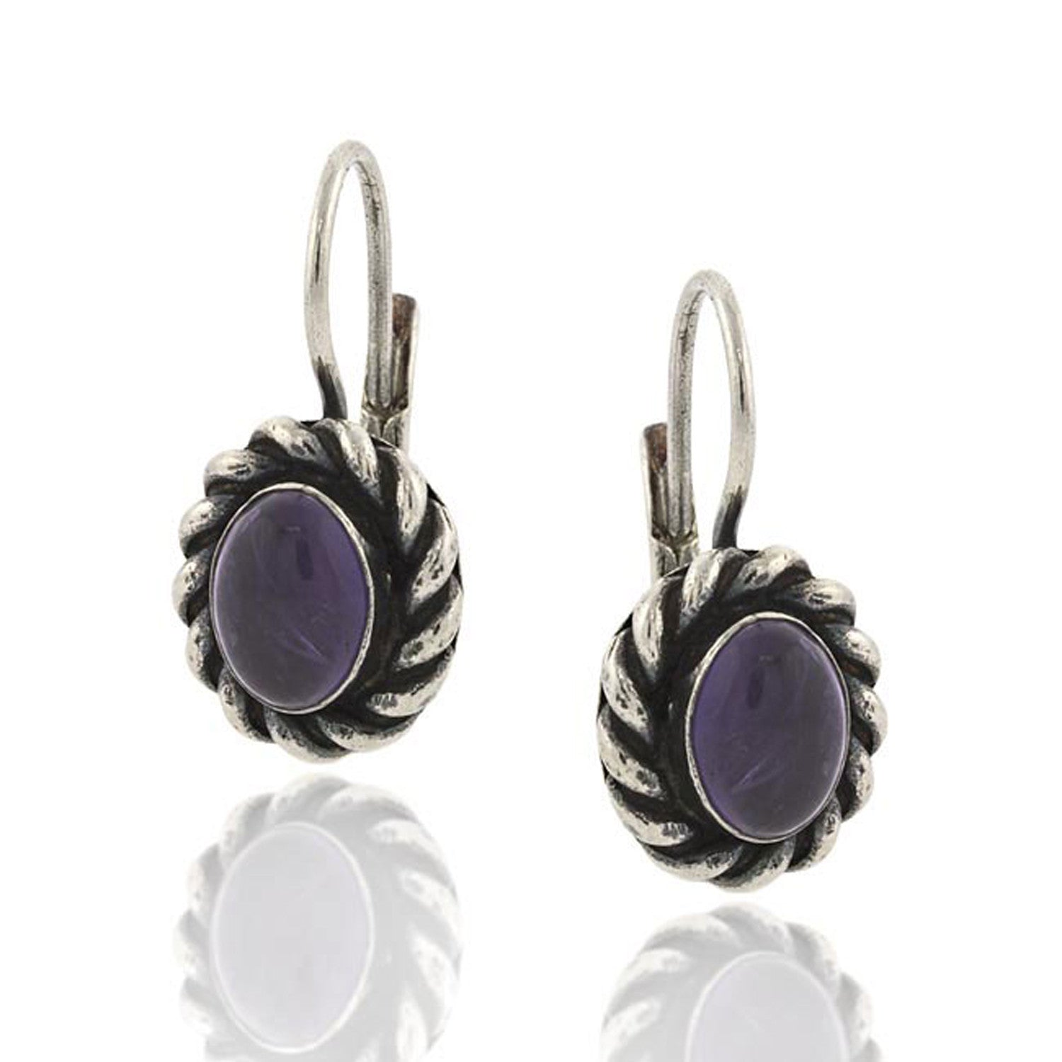 Sterling Silver Gemstone Accented Leverback Oval Amethyst Earrings
