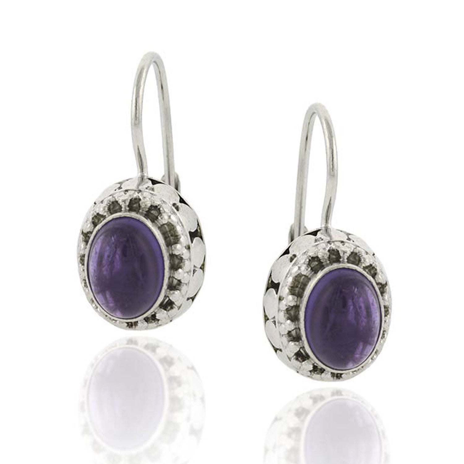 Sterling Silver Gemstone Accented Leverback Oval Earrings - Amethyst